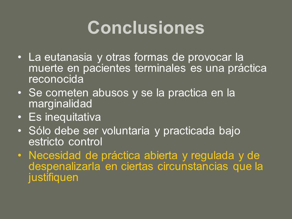 Conclusiones La eutanasia y otras formas de provocar la muerte en pacientes terminales es una práctica reconocida Se cometen abusos y se la practica e