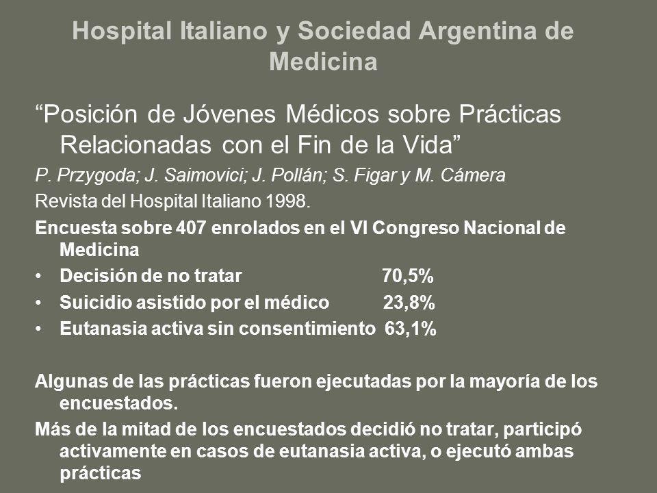 Hospital Italiano y Sociedad Argentina de Medicina Posición de Jóvenes Médicos sobre Prácticas Relacionadas con el Fin de la Vida P. Przygoda; J. Saim