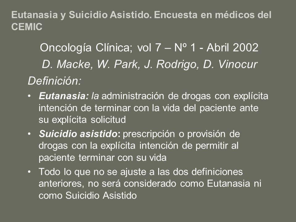 Eutanasia y Suicidio Asistido. Encuesta en médicos del CEMIC Oncología Clínica; vol 7 – Nº 1 - Abril 2002 D. Macke, W. Park, J. Rodrigo, D. Vinocur De