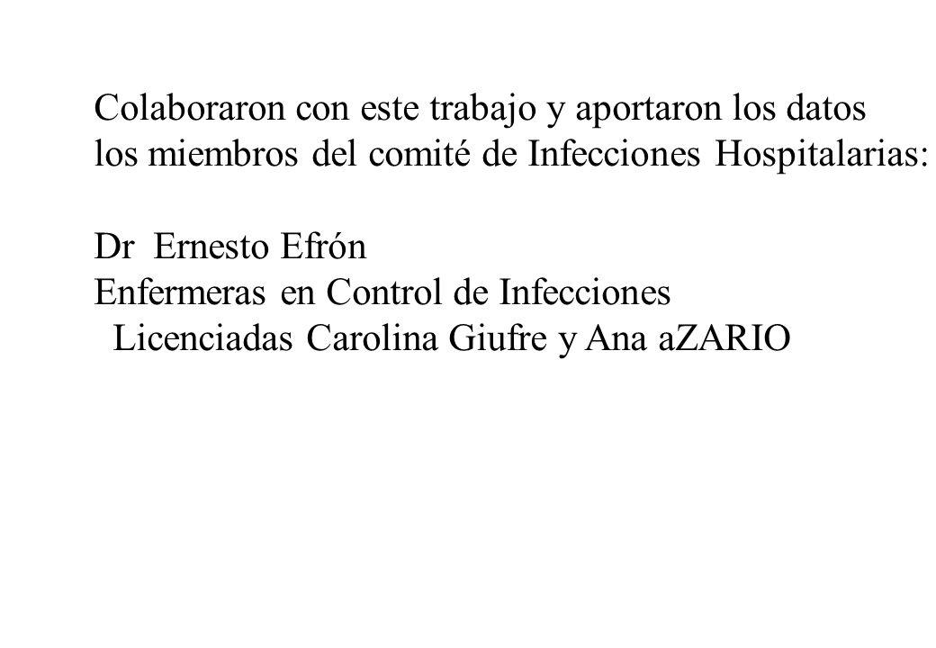 Colaboraron con este trabajo y aportaron los datos los miembros del comité de Infecciones Hospitalarias: Dr Ernesto Efrón Enfermeras en Control de Inf