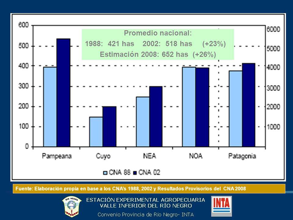Promedio nacional: 1988: 421 has 2002: 518 has (+23%) Estimación 2008: 652 has (+26%) Fuente: Elaboración propia en base a los CNAs 1988, 2002 y Resultados Provisorios del CNA 2008