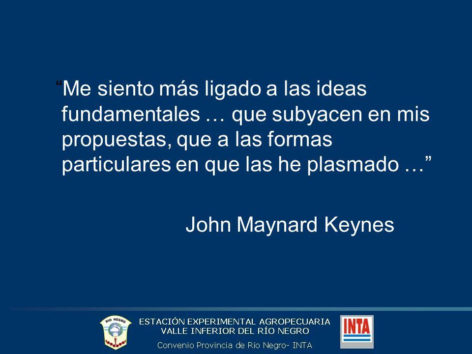 Me siento más ligado a las ideas fundamentales … que subyacen en mis propuestas, que a las formas particulares en que las he plasmado … John Maynard Keynes