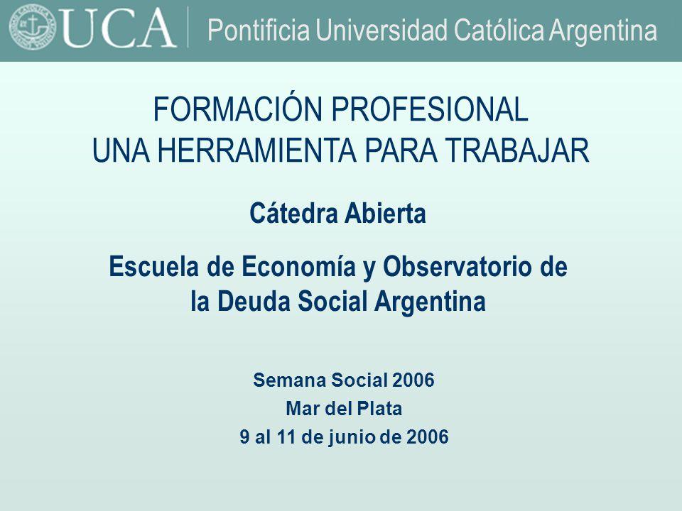 Fuente: Observatorio de la Deuda Social.UCA. Autores: Cátedra abierta de Economía Argentina: Dr.