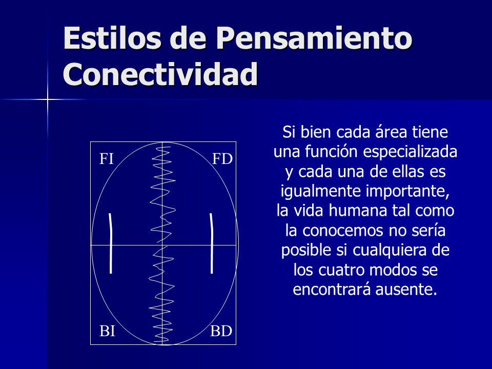 Estilos de Pensamiento Conectividad BDBI FDFI Si bien cada área tiene una función especializada y cada una de ellas es igualmente importante, la vida