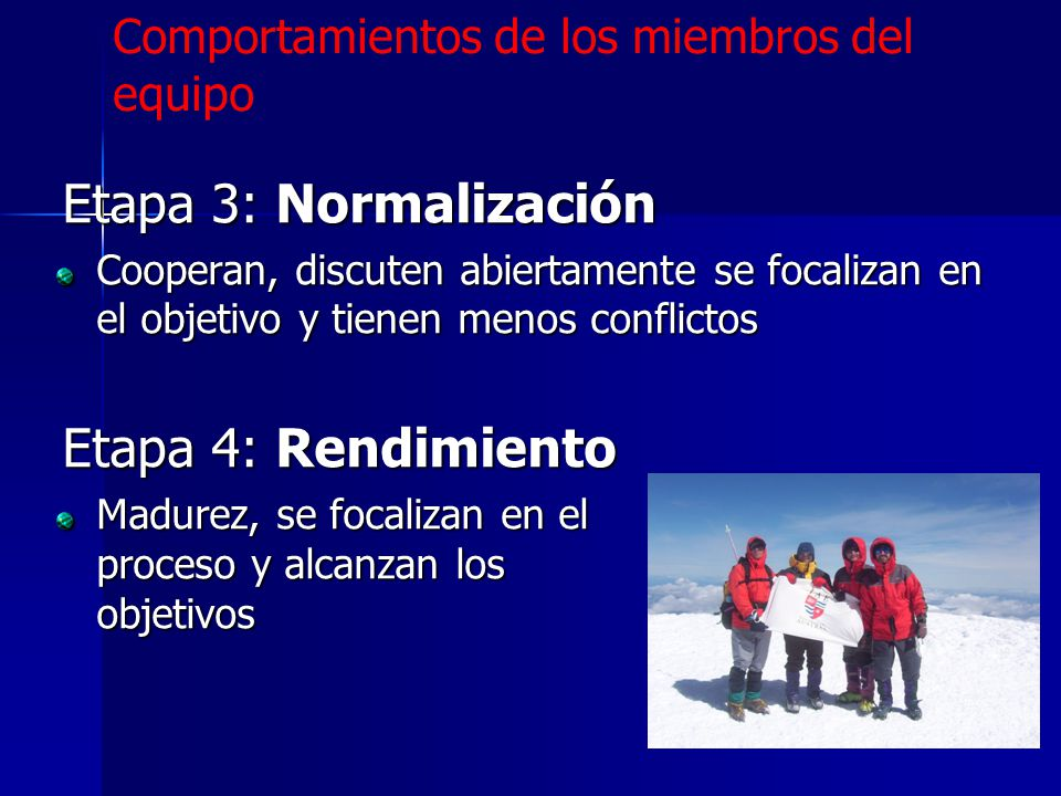 Etapa 3: Normalización Cooperan, discuten abiertamente se focalizan en el objetivo y tienen menos conflictos Etapa 4: Rendimiento Madurez, se focaliza