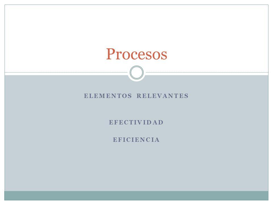 ELEMENTOS RELEVANTES EFECTIVIDAD EFICIENCIA Procesos