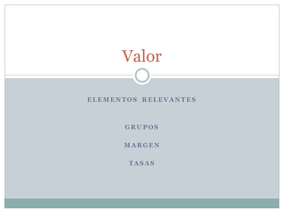 ELEMENTOS RELEVANTES GRUPOS MARGEN TASAS Valor