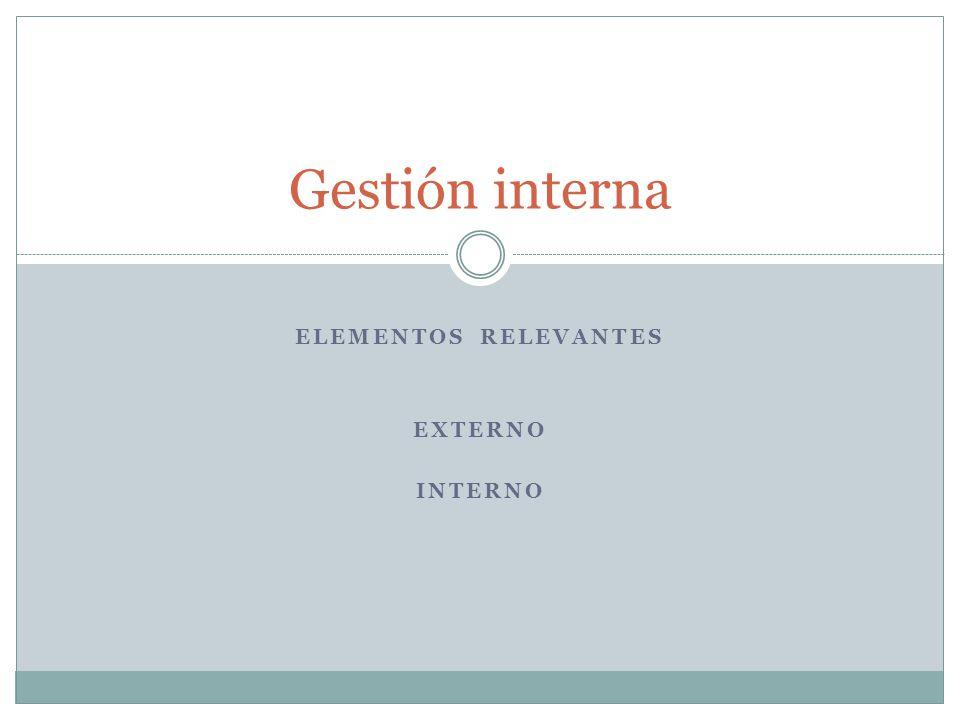 ELEMENTOS RELEVANTES EXTERNO INTERNO Gestión interna