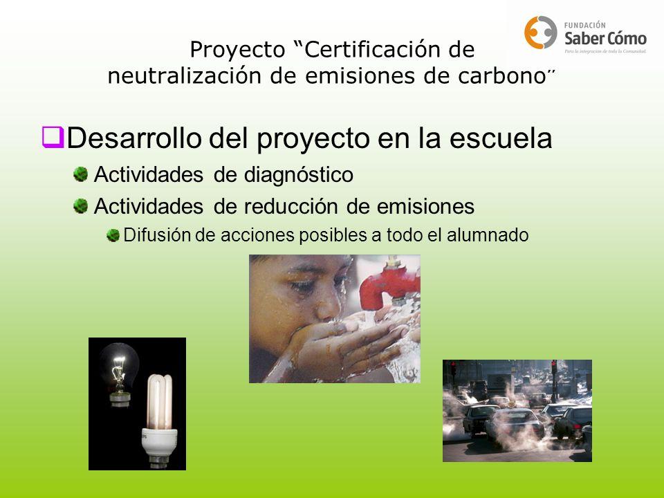 Proyecto Certificación de neutralización de emisiones de carbono Desarrollo del proyecto en la escuela Actividades de diagnóstico Actividades de reduc