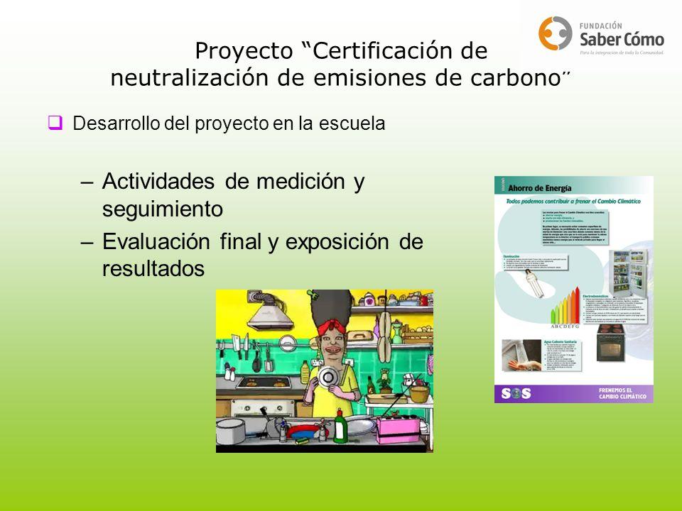 Proyecto Certificación de neutralización de emisiones de carbono Desarrollo del proyecto en la escuela –Actividades de medición y seguimiento –Evaluac