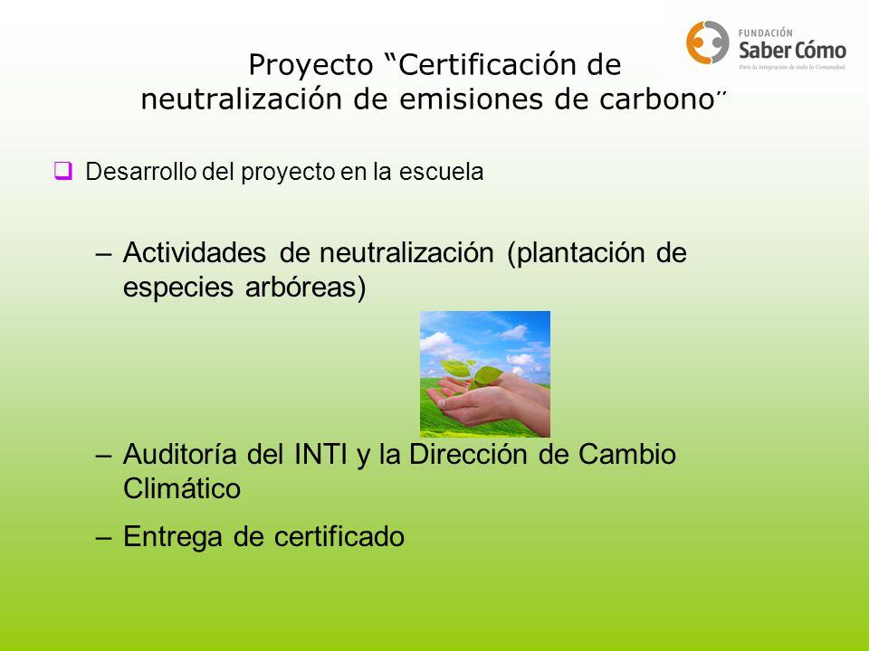 Proyecto Certificación de neutralización de emisiones de carbono Desarrollo del proyecto en la escuela –Actividades de neutralización (plantación de e