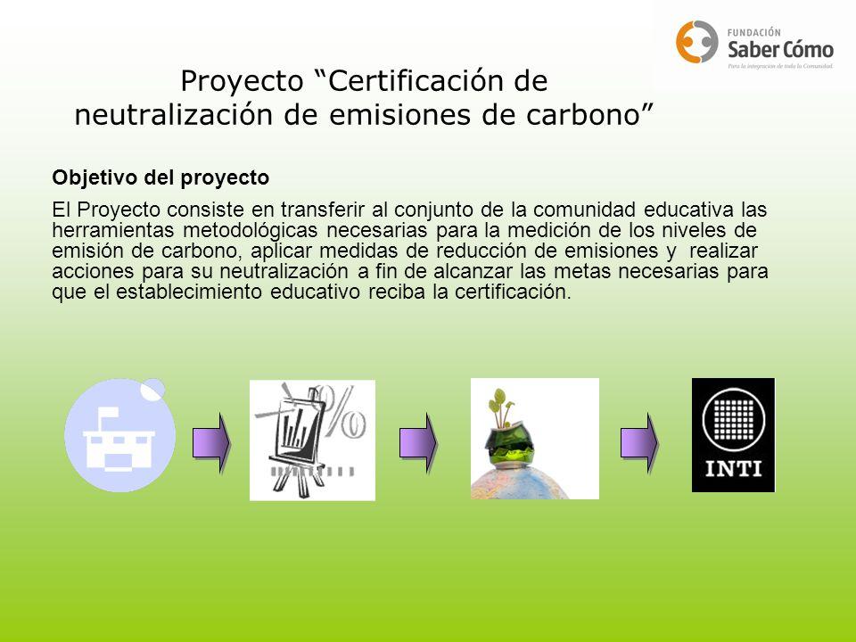 Proyecto Certificación de neutralización de emisiones de carbono Objetivo del proyecto El Proyecto consiste en transferir al conjunto de la comunidad