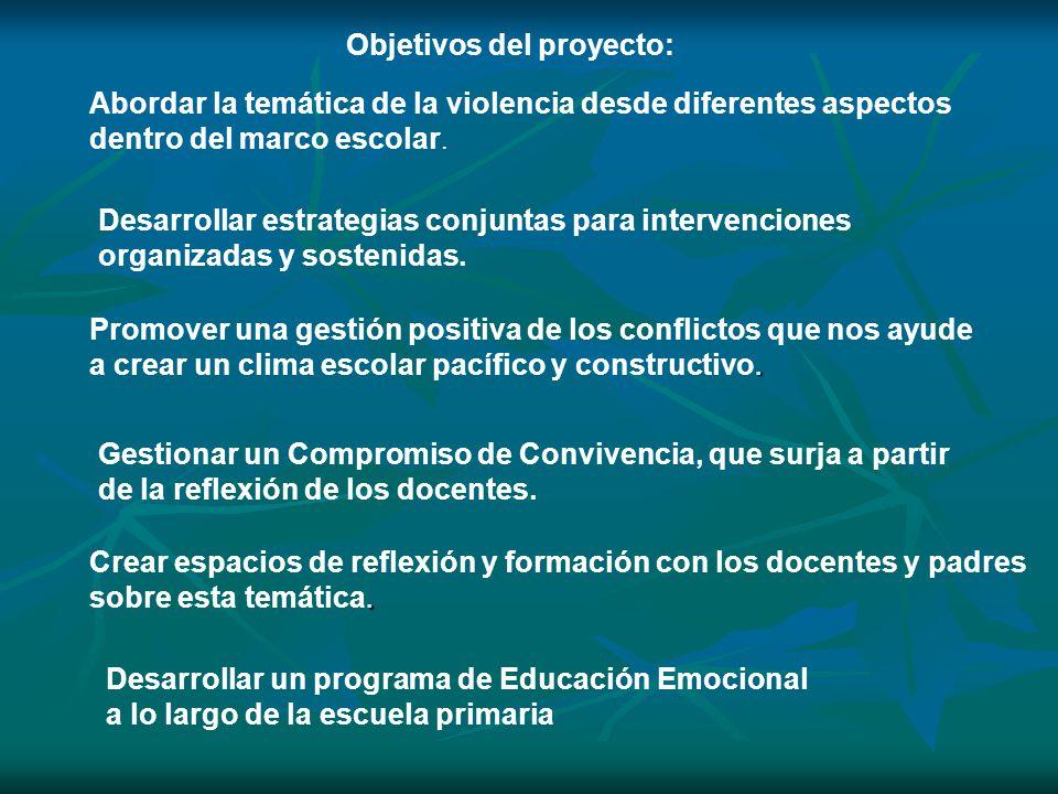 Objetivos del proyecto: Abordar la temática de la violencia desde diferentes aspectos dentro del marco escolar. Desarrollar estrategias conjuntas para
