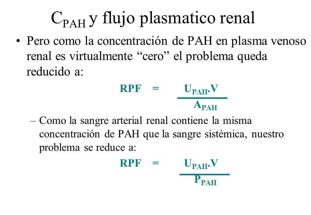 C PAH y flujo plasmatico renal Pero como la concentración de PAH en plasma venoso renal es virtualmente cero el problema queda reducido a: RPF = U PAH
