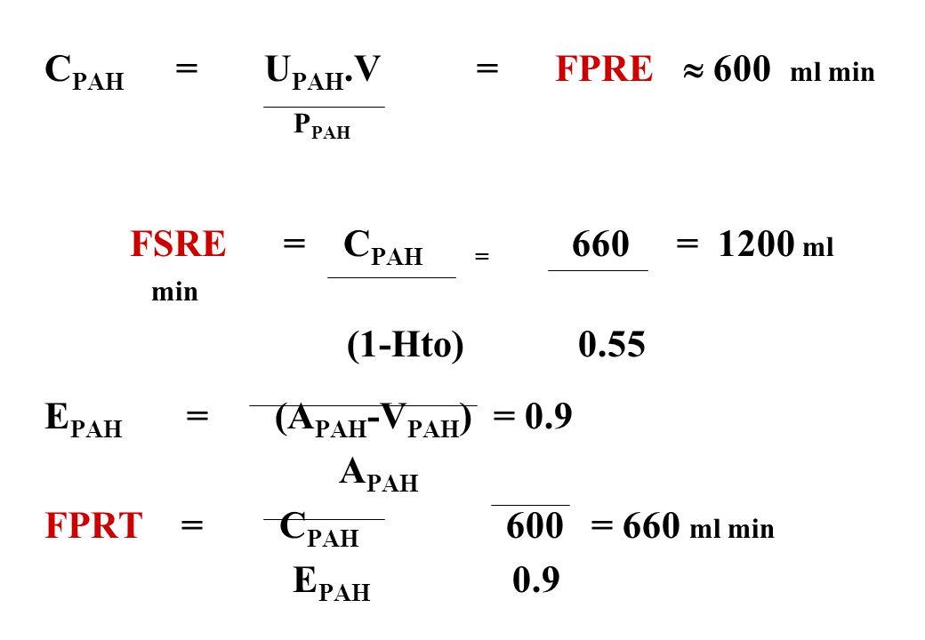 C PAH = U PAH.V = FPRE 600 ml min P PAH FSRE = C PAH = 660 = 1200 ml min (1-Hto) 0.55 E PAH = (A PAH -V PAH ) = 0.9 A PAH FPRT = C PAH 600 = 660 ml mi