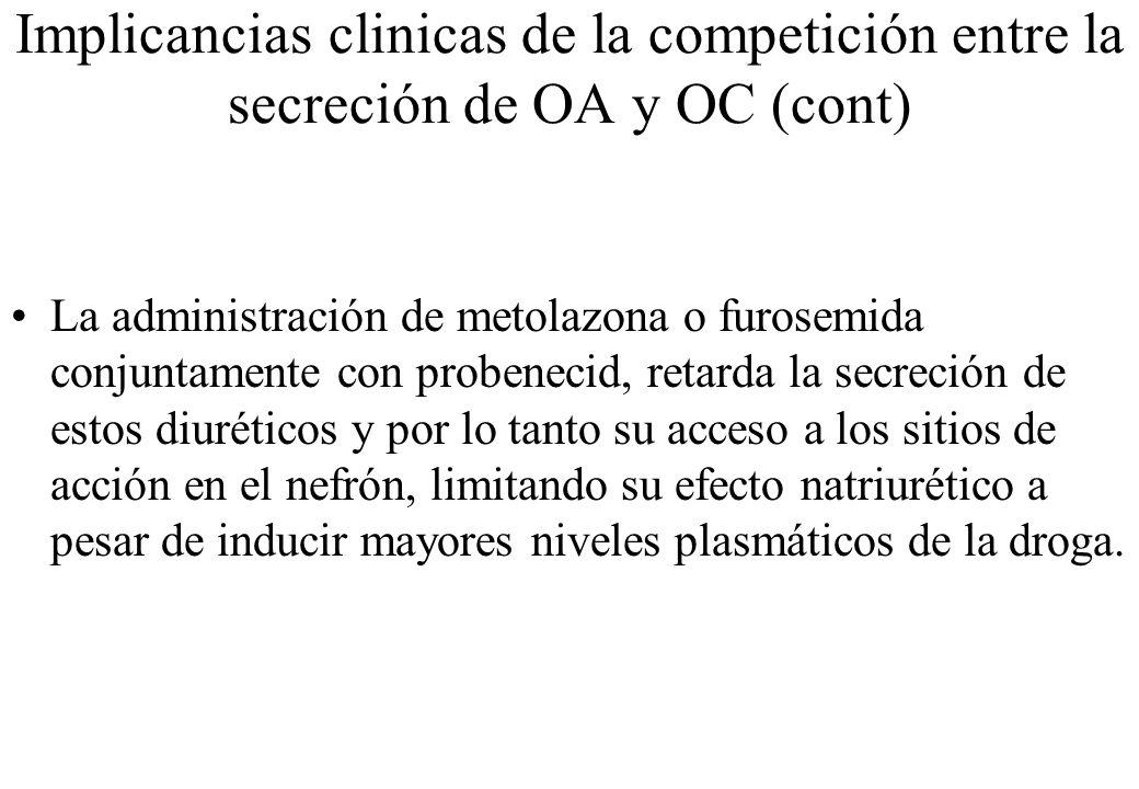 Implicancias clinicas de la competición entre la secreción de OA y OC (cont) La administración de metolazona o furosemida conjuntamente con probenecid
