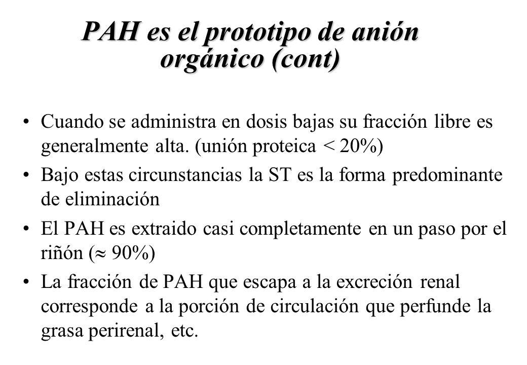 PAH es el prototipo de anión orgánico (cont) Cuando se administra en dosis bajas su fracción libre es generalmente alta. (unión proteica < 20%) Bajo e