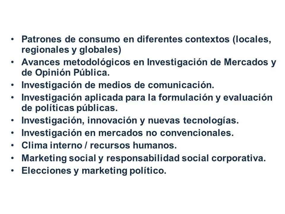 Ejes temáticos Patrones de consumo en diferentes contextos (locales, regionales y globales) Avances metodológicos en Investigación de Mercados y de Opinión Pública.