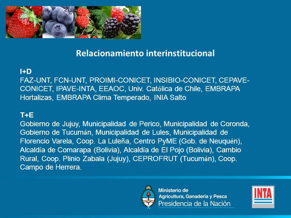 Relacionamiento interinstitucional I+D FAZ-UNT, FCN-UNT, PROIMI-CONICET, INSIBIO-CONICET, CEPAVE- CONICET, IPAVE-INTA, EEAOC, Univ. Cat ó lica de Chil