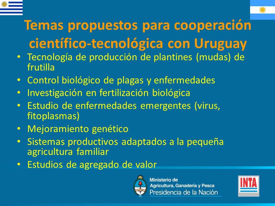 Tecnología de producción de plantines (mudas) de frutilla Control biológico de plagas y enfermedades Investigación en fertilización biológica Estudio