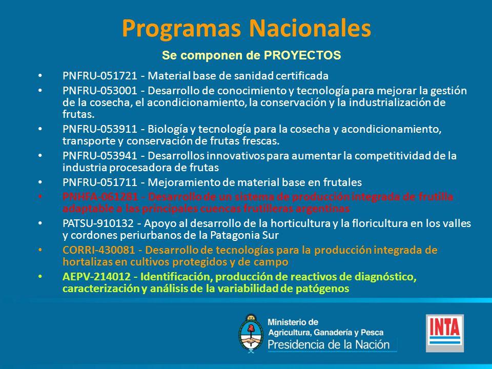 Programas Nacionales PNFRU-051721 - Material base de sanidad certificada PNFRU-053001 - Desarrollo de conocimiento y tecnología para mejorar la gestión de la cosecha, el acondicionamiento, la conservación y la industrialización de frutas.