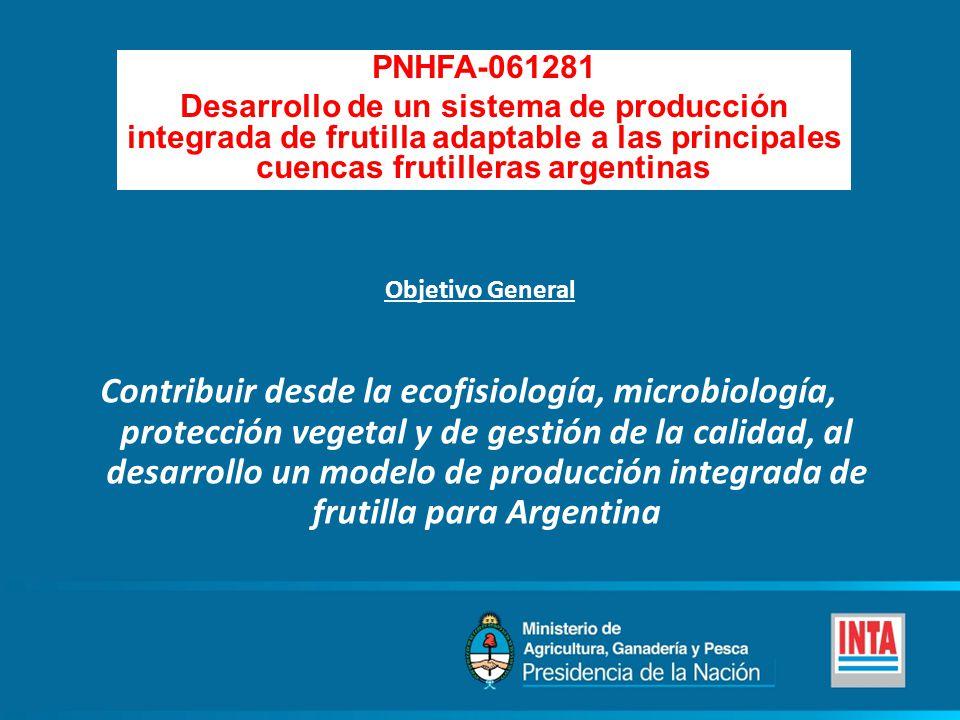 PNHFA-061281 Desarrollo de un sistema de producción integrada de frutilla adaptable a las principales cuencas frutilleras argentinas Contribuir desde la ecofisiología, microbiología, protección vegetal y de gestión de la calidad, al desarrollo un modelo de producción integrada de frutilla para Argentina Objetivo General