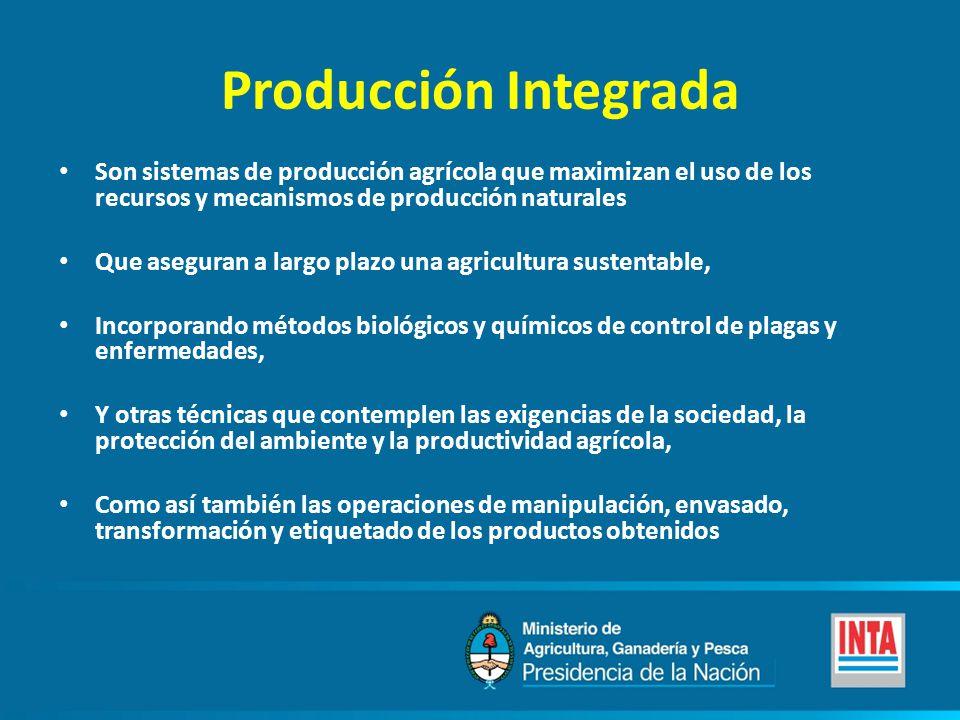 Producción Integrada Son sistemas de producción agrícola que maximizan el uso de los recursos y mecanismos de producción naturales Que aseguran a larg