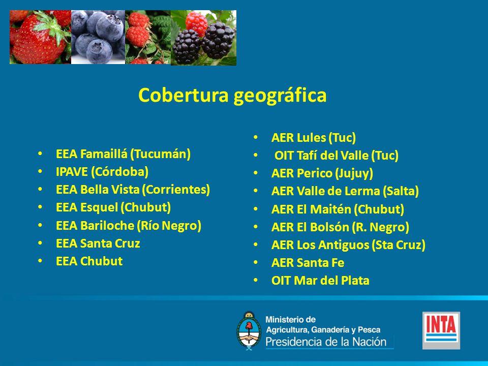 EEA Famaillá (Tucumán) IPAVE (Córdoba) EEA Bella Vista (Corrientes) EEA Esquel (Chubut) EEA Bariloche (Río Negro) EEA Santa Cruz EEA Chubut AER Lules