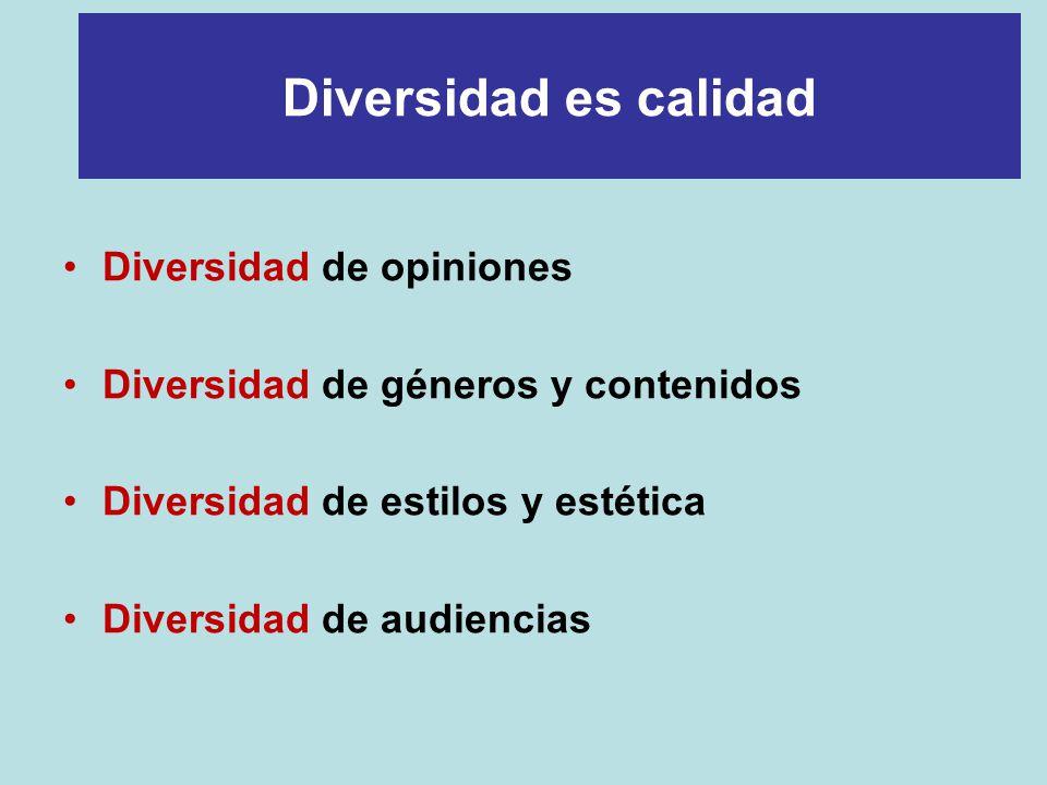 Diversidad de opiniones Diversidad de géneros y contenidos Diversidad de estilos y estética Diversidad de audiencias Diversidad es calidad