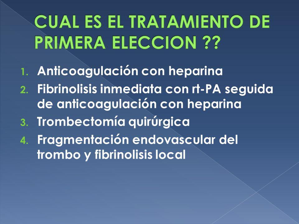 1. Anticoagulación con heparina 2. Fibrinolisis inmediata con rt-PA seguida de anticoagulación con heparina 3. Trombectomía quirúrgica 4. Fragmentació