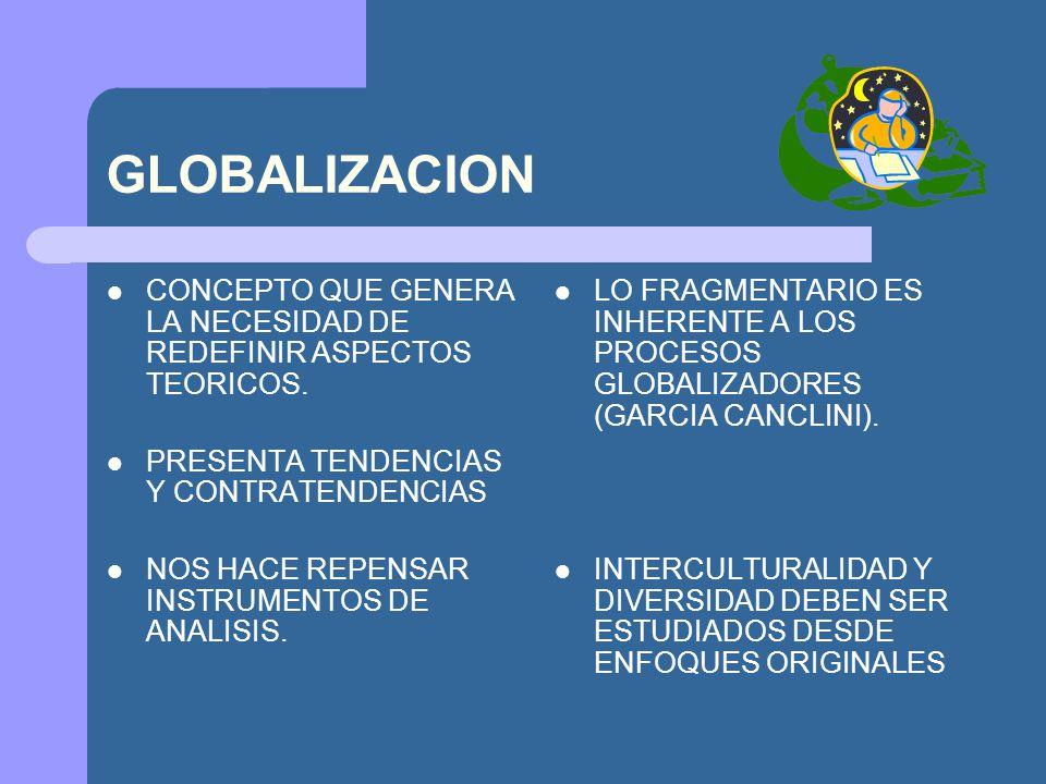 GLOBALIZACION CONCEPTO QUE GENERA LA NECESIDAD DE REDEFINIR ASPECTOS TEORICOS. PRESENTA TENDENCIAS Y CONTRATENDENCIAS NOS HACE REPENSAR INSTRUMENTOS D
