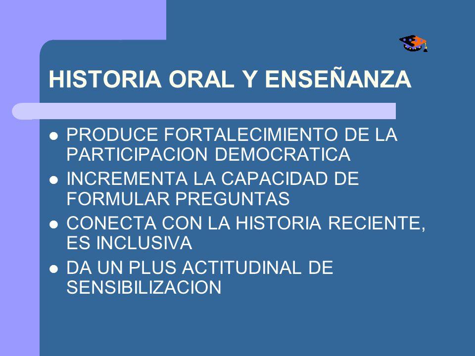 HISTORIA ORAL Y ENSEÑANZA PRODUCE FORTALECIMIENTO DE LA PARTICIPACION DEMOCRATICA INCREMENTA LA CAPACIDAD DE FORMULAR PREGUNTAS CONECTA CON LA HISTORI