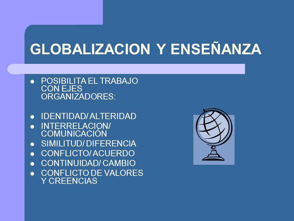 GLOBALIZACION Y ENSEÑANZA POSIBILITA EL TRABAJO CON EJES ORGANIZADORES: IDENTIDAD/ ALTERIDAD INTERRELACION/ COMUNICACIÓN SIMILITUD/ DIFERENCIA CONFLIC