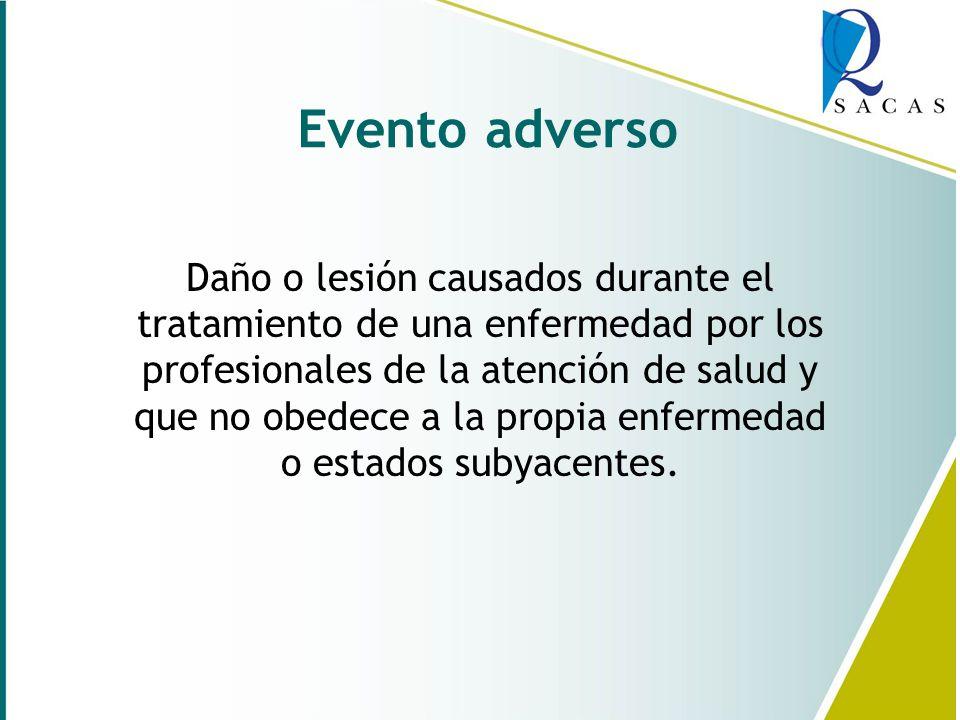 Evento adverso Daño o lesión causados durante el tratamiento de una enfermedad por los profesionales de la atención de salud y que no obedece a la propia enfermedad o estados subyacentes.