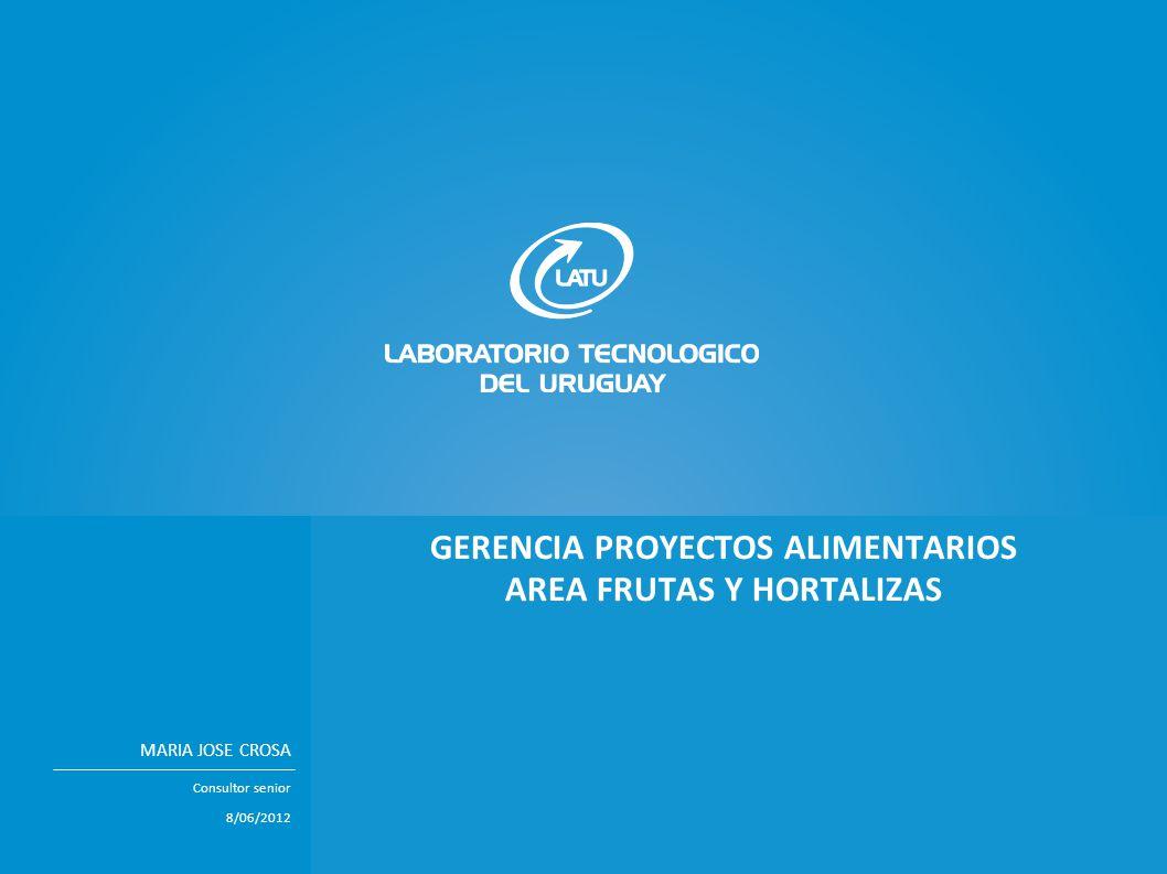 TÍTULO PRESENTACIÓN EN MAYÚSCULASNombre expositor GERENCIA PROYECTOS ALIMENTARIOS AREA FRUTAS Y HORTALIZAS MARIA JOSE CROSA Consultor senior 8/06/2012