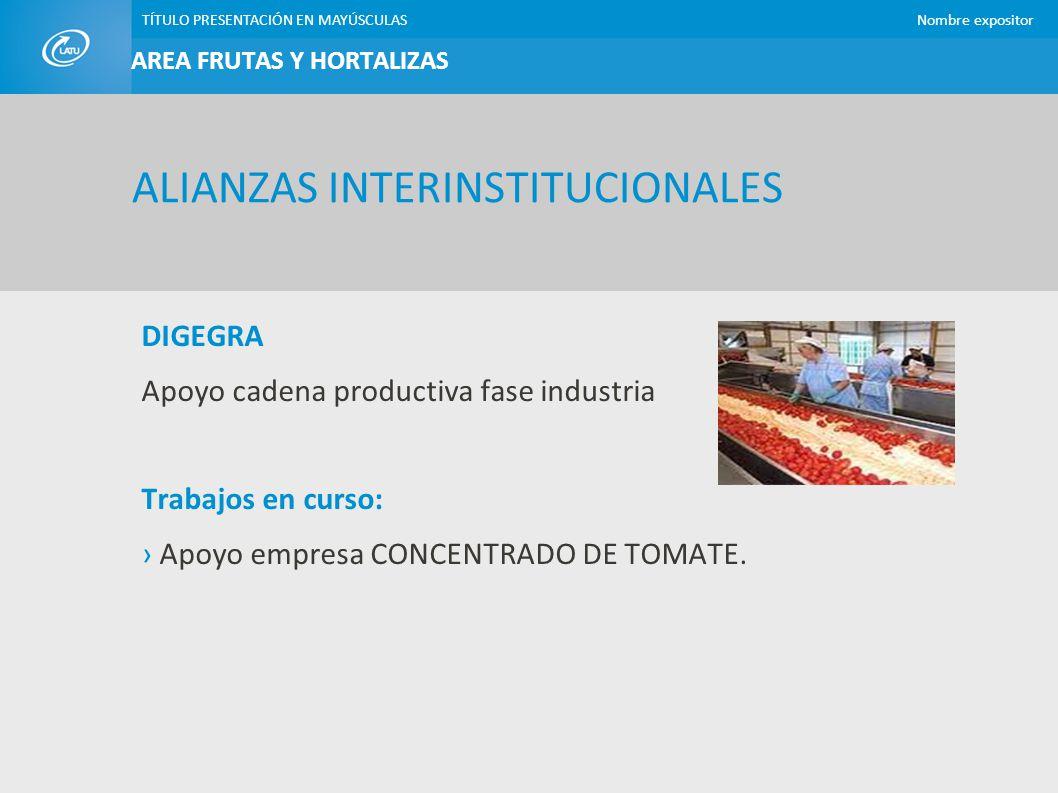 TÍTULO PRESENTACIÓN EN MAYÚSCULASNombre expositor DIGEGRA Apoyo cadena productiva fase industria Trabajos en curso: Apoyo empresa CONCENTRADO DE TOMAT
