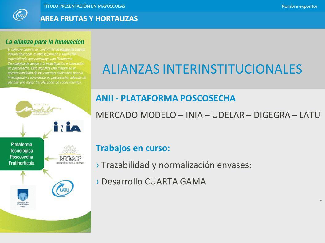 TÍTULO PRESENTACIÓN EN MAYÚSCULASNombre expositor AREA FRUTAS Y HORTALIZAS PROYECTOS ANII CON EMPRESAS CHIPS DE VEGETALES Y FRUTAS Fritura en vacío Proyecto financiado por ANII – BROU – EMPRESA y LATU Equipo de proyecto: EMPRESA (DETRICAR) INIA LATU Período: 2010 - 2013