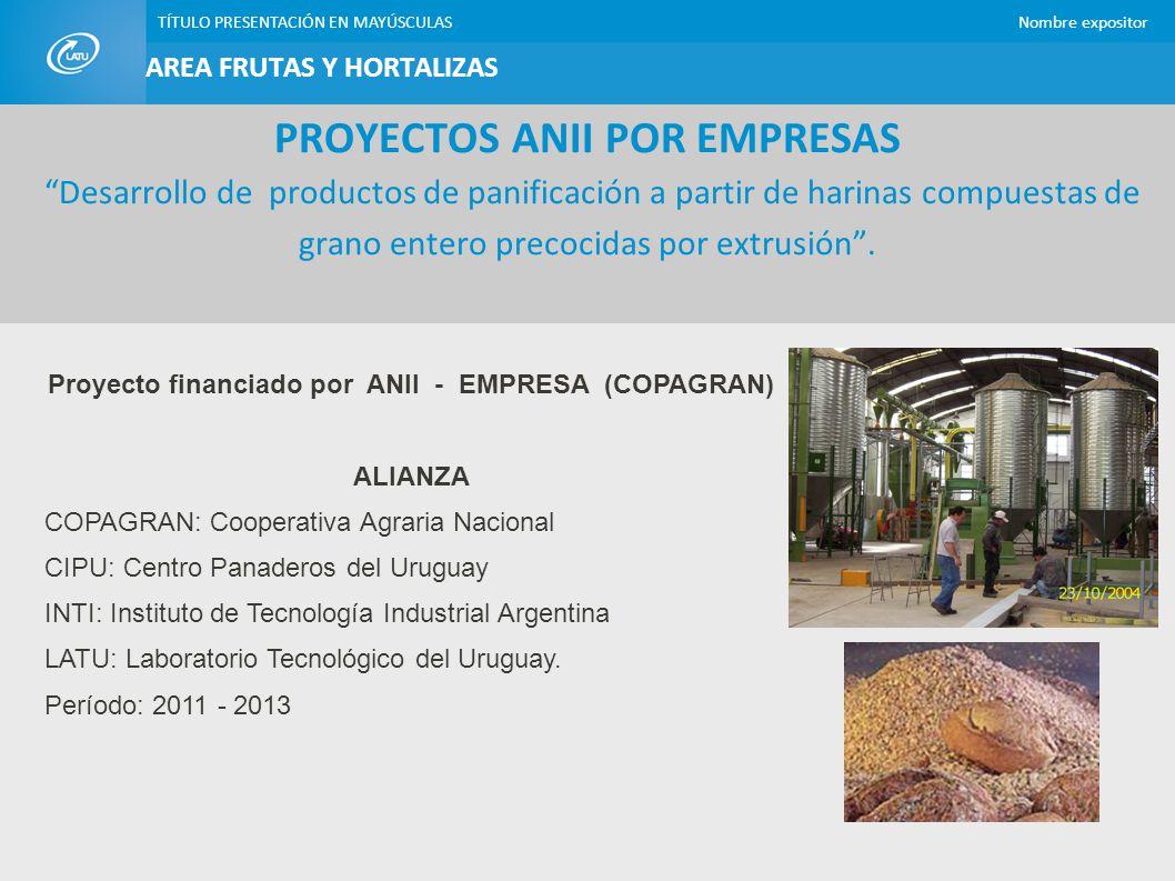 TÍTULO PRESENTACIÓN EN MAYÚSCULASNombre expositor Rol: Co-responsable técnico Aporta: - Las harinas de los granos seleccionados, producidas por el método de extrusión.