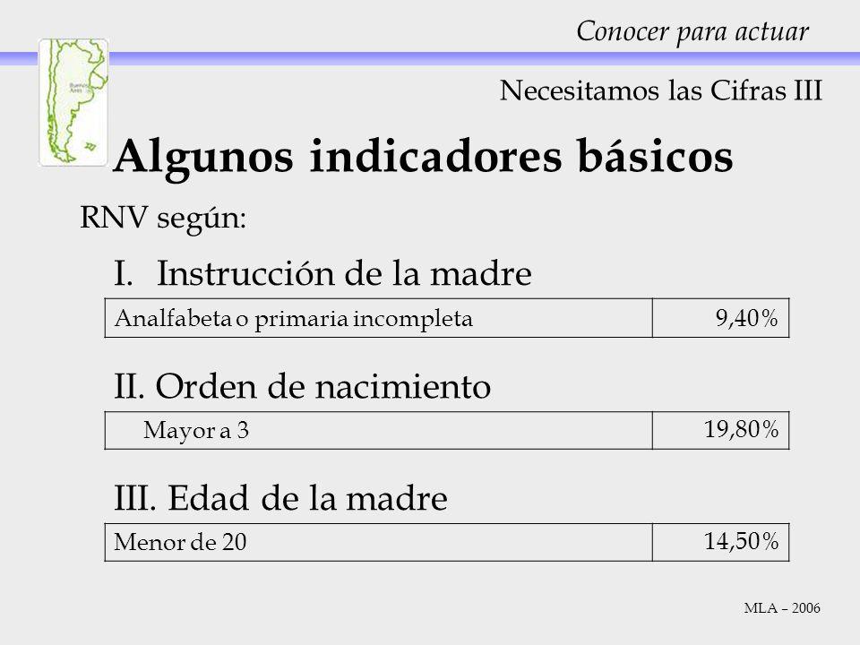 RNV según: Necesitamos las Cifras III Conocer para actuar Algunos indicadores básicos I.Instrucción de la madre Analfabeta o primaria incompleta 9,40%