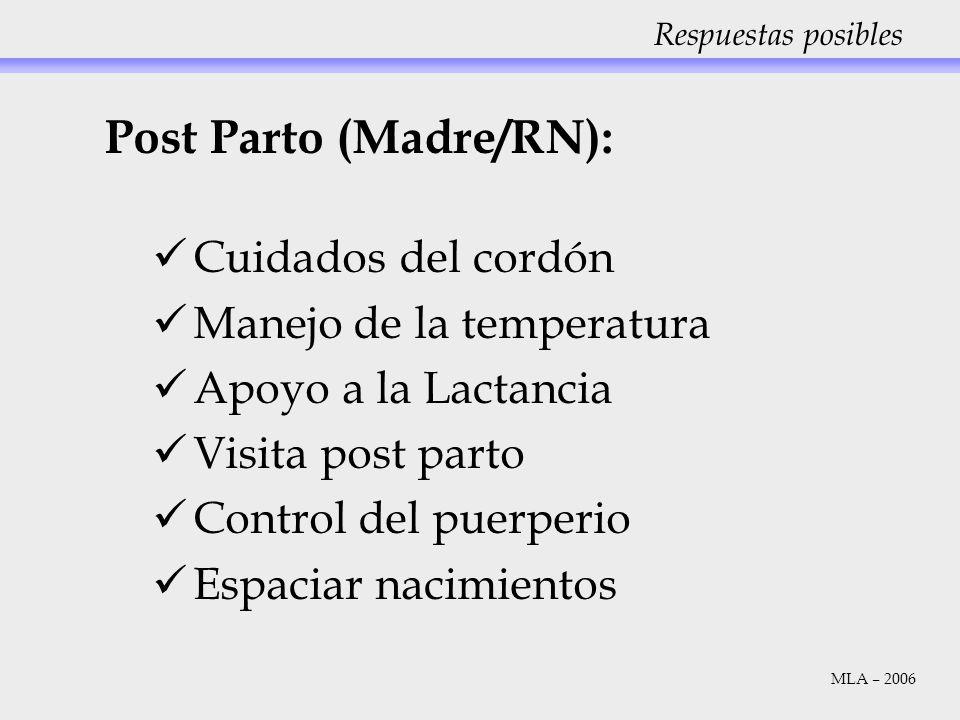 Respuestas posibles Post Parto (Madre/RN): Cuidados del cordón Manejo de la temperatura Apoyo a la Lactancia Visita post parto Control del puerperio E