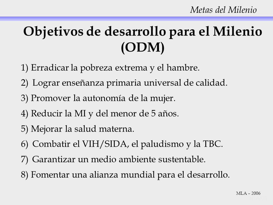 Objetivos de desarrollo para el Milenio (ODM) 1) Erradicar la pobreza extrema y el hambre. 2)Lograr enseñanza primaria universal de calidad. 3) Promov