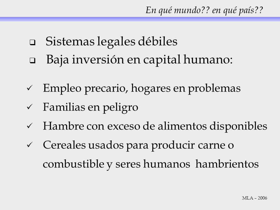 Sistemas legales débiles Baja inversión en capital humano: En qué mundo?? en qué país?? Empleo precario, hogares en problemas Familias en peligro Hamb