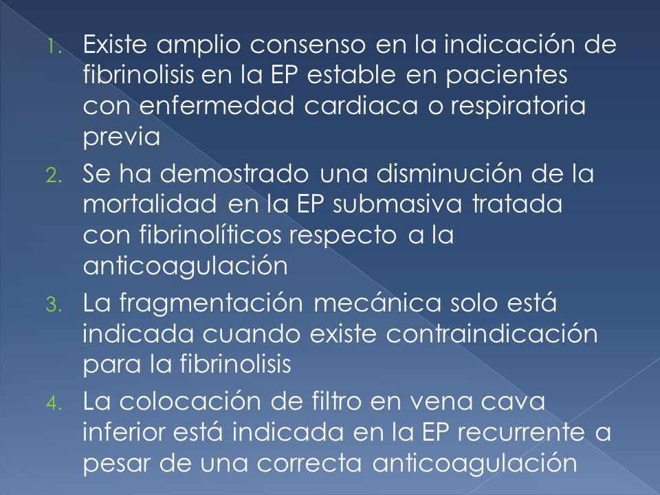 1. Existe amplio consenso en la indicación de fibrinolisis en la EP estable en pacientes con enfermedad cardiaca o respiratoria previa 2. Se ha demost
