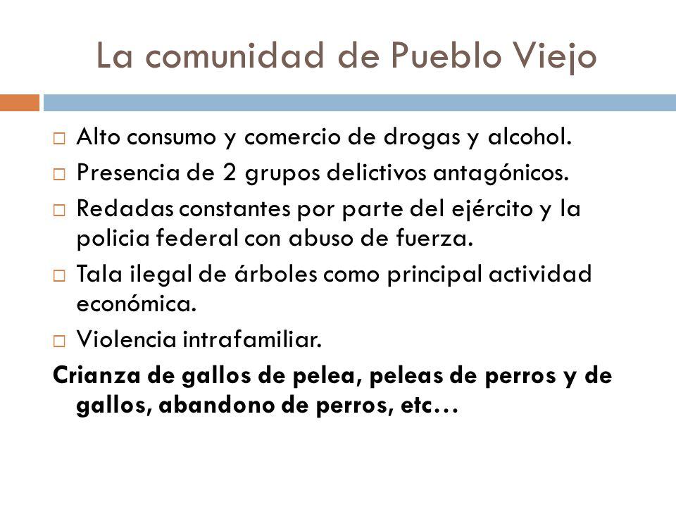 La comunidad de Pueblo Viejo Alto consumo y comercio de drogas y alcohol. Presencia de 2 grupos delictivos antagónicos. Redadas constantes por parte d