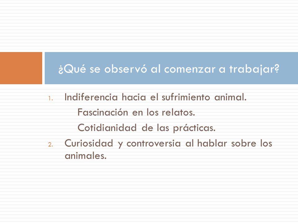 ¿Qué se observó al comenzar a trabajar? 1. Indiferencia hacia el sufrimiento animal. Fascinación en los relatos. Cotidianidad de las prácticas. 2. Cur