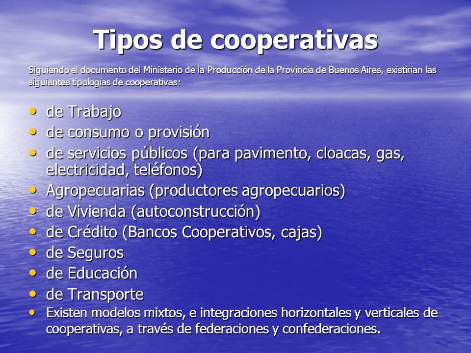 Tipos de cooperativas Siguiendo el documento del Ministerio de la Producción de la Provincia de Buenos Aires, existirían las siguientes tipologías de cooperativas: de Trabajo de Trabajo de consumo o provisión de consumo o provisión de servicios públicos (para pavimento, cloacas, gas, electricidad, teléfonos) de servicios públicos (para pavimento, cloacas, gas, electricidad, teléfonos) Agropecuarias (productores agropecuarios) Agropecuarias (productores agropecuarios) de Vivienda (autoconstrucción) de Vivienda (autoconstrucción) de Crédito (Bancos Cooperativos, cajas) de Crédito (Bancos Cooperativos, cajas) de Seguros de Seguros de Educación de Educación de Transporte de Transporte Existen modelos mixtos, e integraciones horizontales y verticales de cooperativas, a través de federaciones y confederaciones.