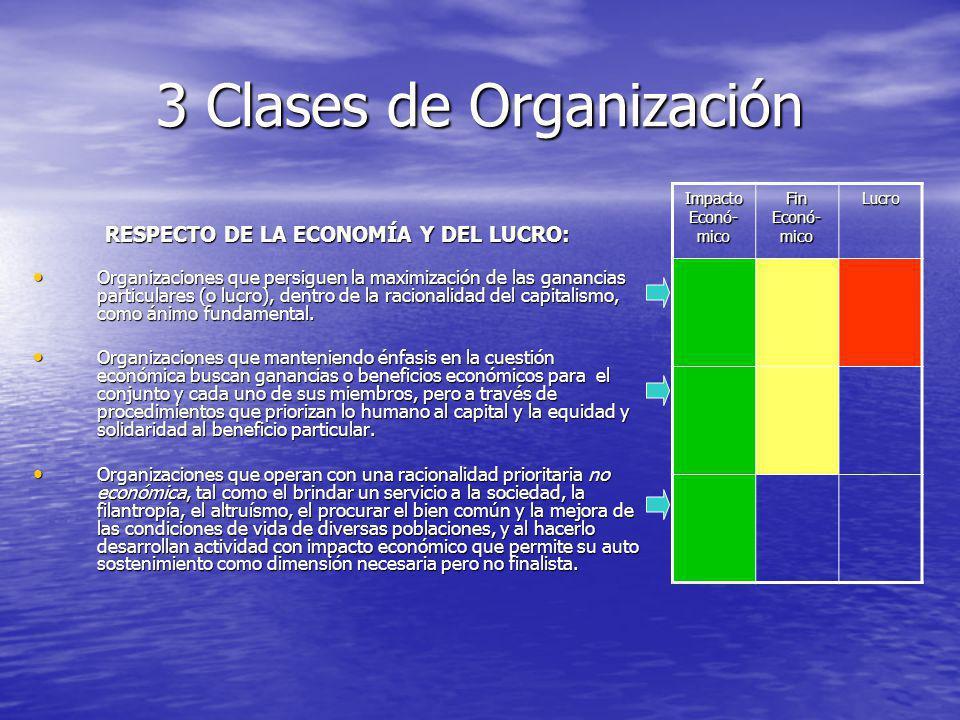 3 Clases de Organización RESPECTO DE LA ECONOMÍA Y DEL LUCRO: Organizaciones que persiguen la maximización de las ganancias particulares (o lucro), dentro de la racionalidad del capitalismo, como ánimo fundamental.