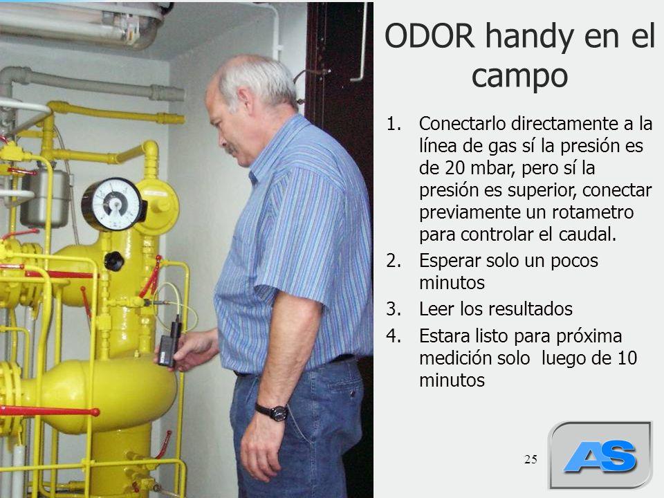 25 ODOR handy en el campo 1.Conectarlo directamente a la línea de gas sí la presión es de 20 mbar, pero sí la presión es superior, conectar previamente un rotametro para controlar el caudal.