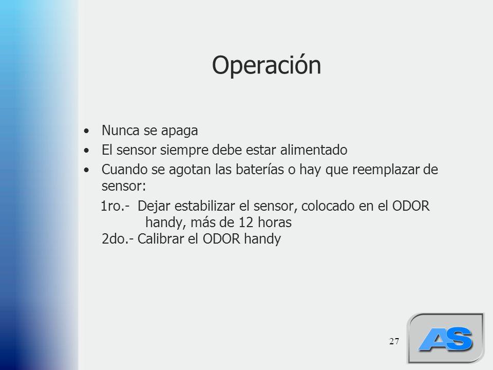 27 Operación Nunca se apaga El sensor siempre debe estar alimentado Cuando se agotan las baterías o hay que reemplazar de sensor: 1ro.- Dejar estabili