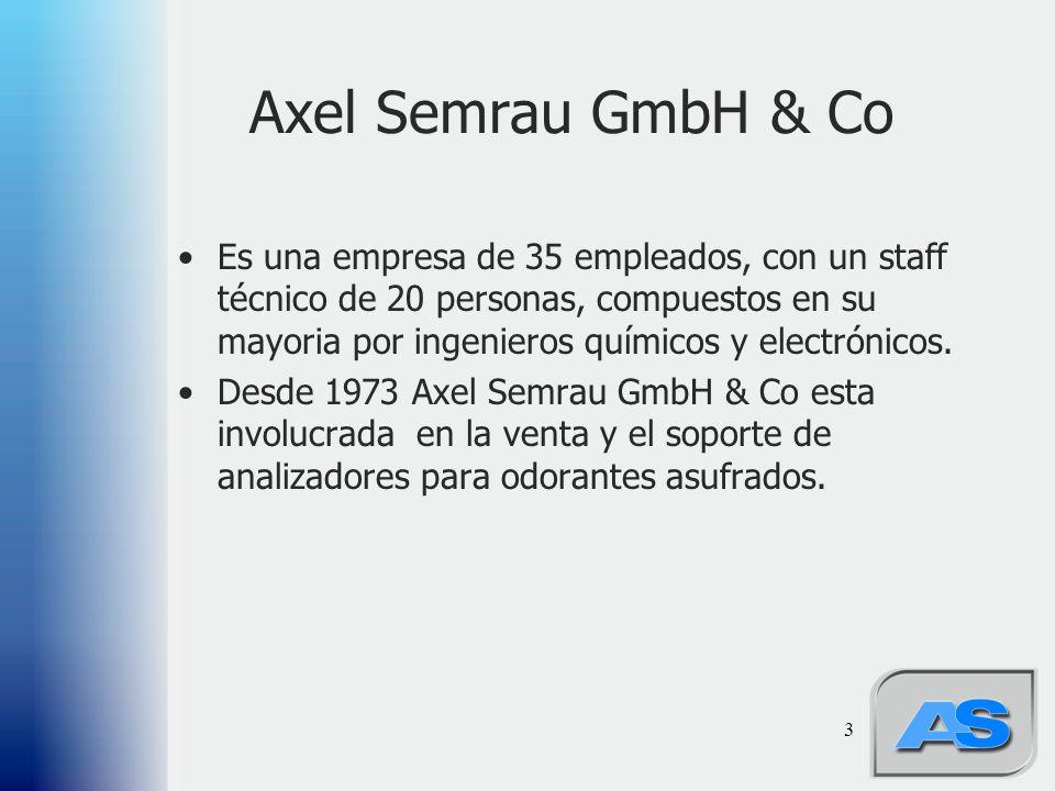 3 Axel Semrau GmbH & Co Es una empresa de 35 empleados, con un staff técnico de 20 personas, compuestos en su mayoria por ingenieros químicos y electrónicos.